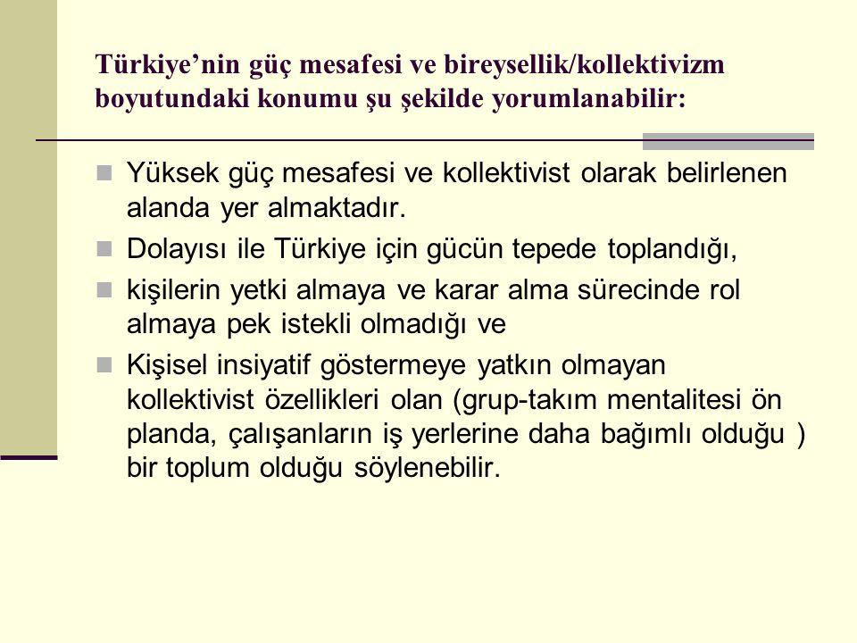 Türkiye'nin güç mesafesi ve bireysellik/kollektivizm boyutundaki konumu şu şekilde yorumlanabilir: Yüksek güç mesafesi ve kollektivist olarak belirlen