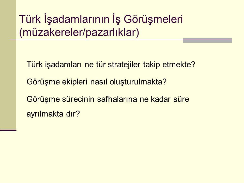 Türk işadamları ne tür stratejiler takip etmekte? Görüşme ekipleri nasıl oluşturulmakta? Görüşme sürecinin safhalarına ne kadar süre ayrılmakta dır?