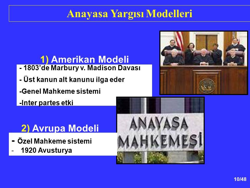 10/48 2) Avrupa Modeli - 1803'de Marbury v. Madison Davası - Üst kanun alt kanunu ilga eder -Genel Mahkeme sistemi -Inter partes etki Anayasa Yargısı