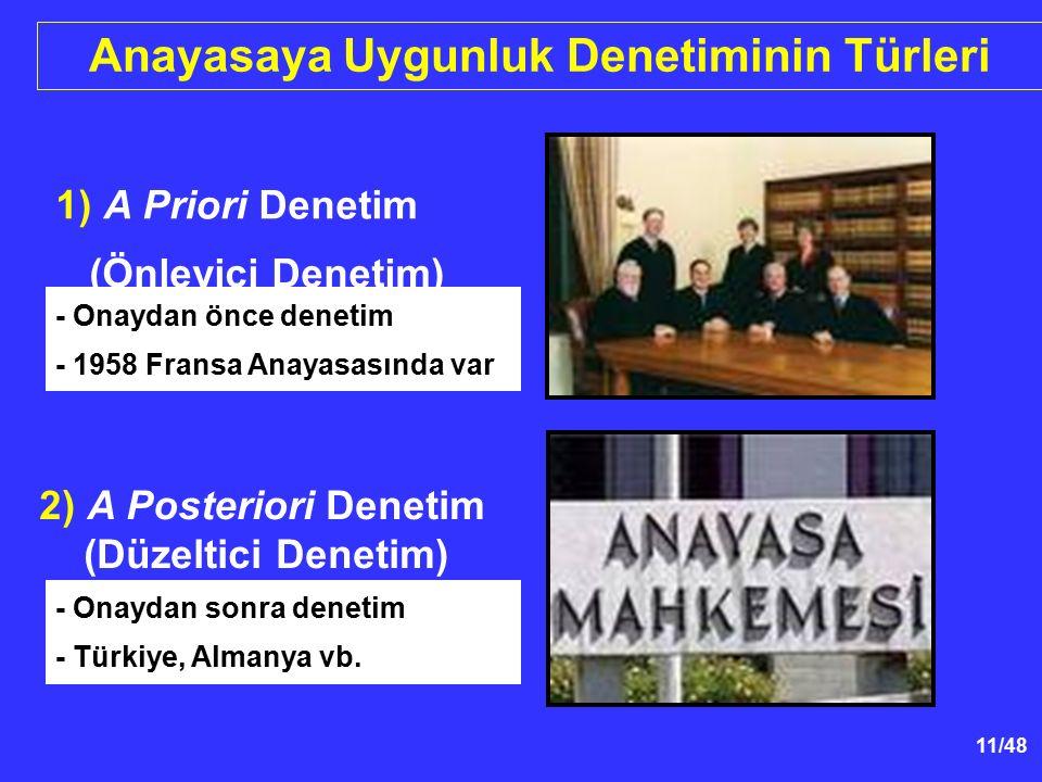 11/48 2) A Posteriori Denetim (Düzeltici Denetim) 1) A Priori Denetim (Önleyici Denetim) Anayasaya Uygunluk Denetiminin Türleri - Onaydan önce denetim