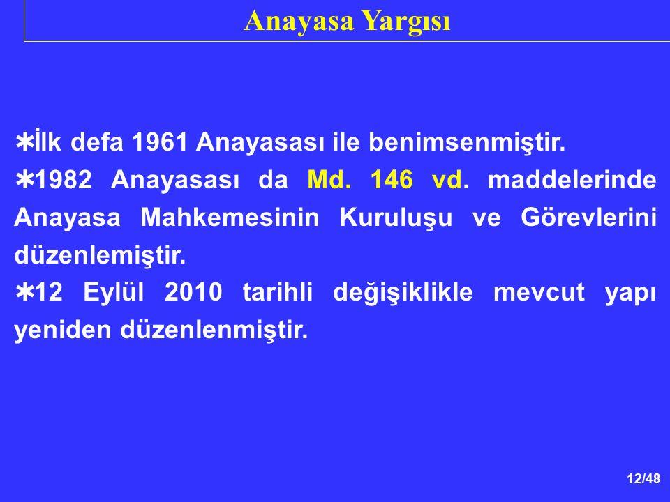 12/48  İlk defa 1961 Anayasası ile benimsenmiştir.  1982 Anayasası da Md. 146 vd. maddelerinde Anayasa Mahkemesinin Kuruluşu ve Görevlerini düzenlem