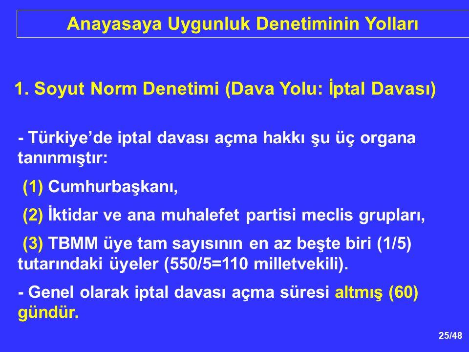 25/48 1. Soyut Norm Denetimi (Dava Yolu: İptal Davası) - Türkiye'de iptal davası açma hakkı şu üç organa tanınmıştır: (1) Cumhurbaşkanı, (2) İktidar v