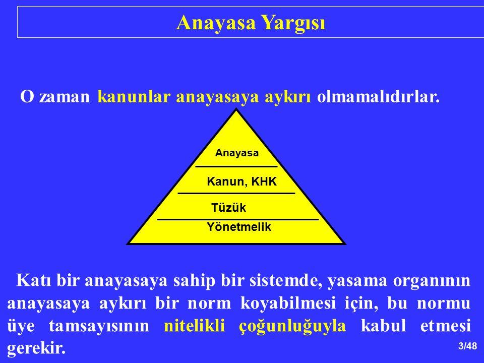 14/48 Anayasaya Mahkemesinin Yapısı Genel Kurul Bşk.+ Tüm üyeler:17 Top: 13 (en az) Karar: Katılanların salt çoğ: 9 AYM (Md.