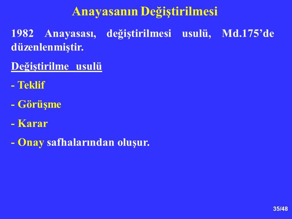 35/48 Anayasanın Değiştirilmesi 1982 Anayasası, değiştirilmesi usulü, Md.175'de düzenlenmiştir. Değiştirilme usulü - Teklif - Görüşme - Karar - Onay s
