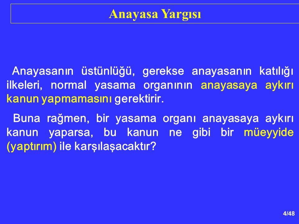 15/48 Anayasaya Mahkemesinin Yargılama Usulü - Görüşmeler gizlidir.
