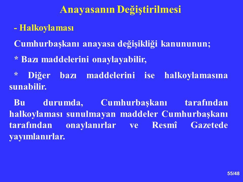 55/48 Anayasanın Değiştirilmesi - Halkoylaması Cumhurbaşkanı anayasa değişikliği kanununun; * Bazı maddelerini onaylayabilir, * Diğer bazı maddelerini ise halkoylamasına sunabilir.