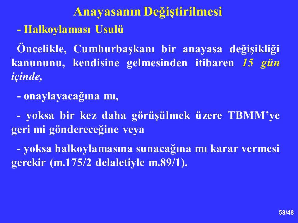 58/48 Anayasanın Değiştirilmesi - Halkoylaması Usulü Öncelikle, Cumhurbaşkanı bir anayasa değişikliği kanununu, kendisine gelmesinden itibaren 15 gün