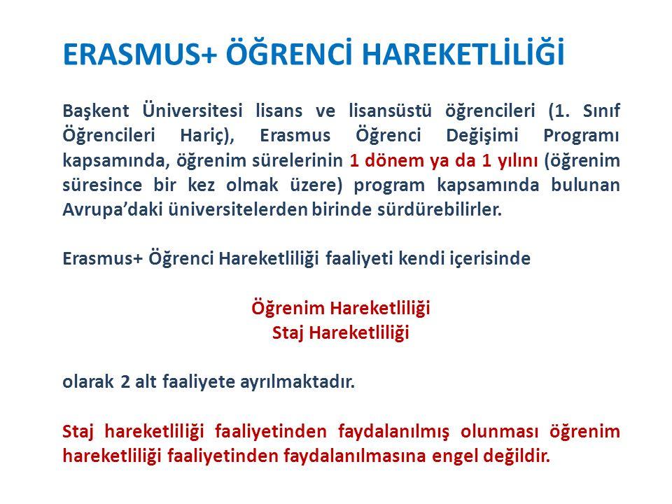 ERASMUS+ ÖĞRENCİ HAREKETLİLİĞİ Başkent Üniversitesi lisans ve lisansüstü öğrencileri (1.