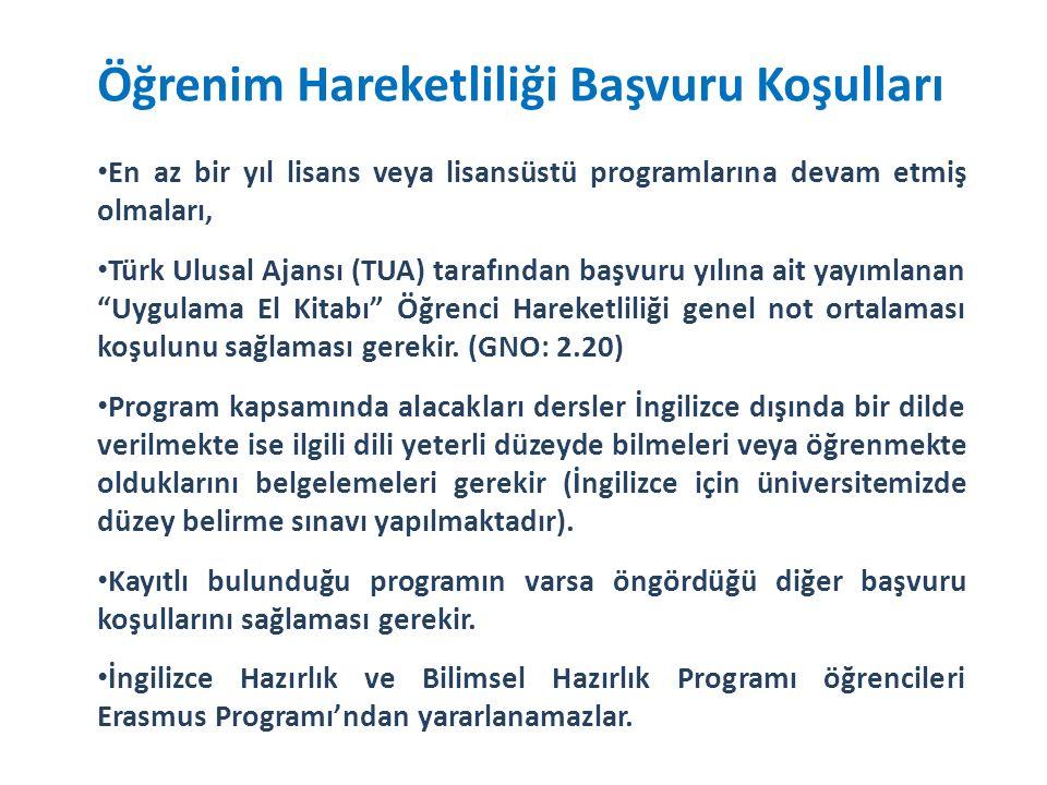 Öğrenim Hareketliliği Başvuru Koşulları En az bir yıl lisans veya lisansüstü programlarına devam etmiş olmaları, Türk Ulusal Ajansı (TUA) tarafından başvuru yılına ait yayımlanan Uygulama El Kitabı Öğrenci Hareketliliği genel not ortalaması koşulunu sağlaması gerekir.