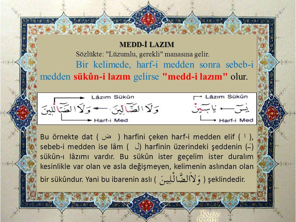 MEDD-İ LAZIM Sözlükte: