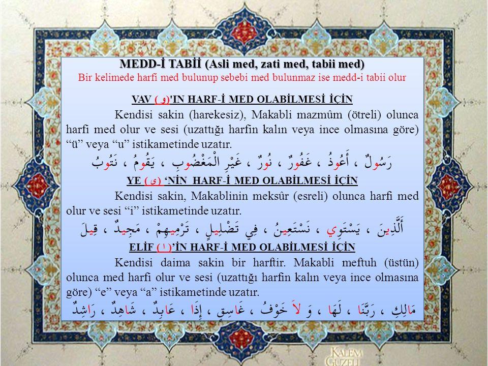 A)Tı ( ط ), Dâl ( د )ve Te ( ت )Harfleri: Bu üç harfin çıkış yerleri, mahrecleri (dilin ucunun, üst ön iki dişin yarısına dokundurularak çıkartılırlar) aynı; Ancak sıfatları farklıdır.