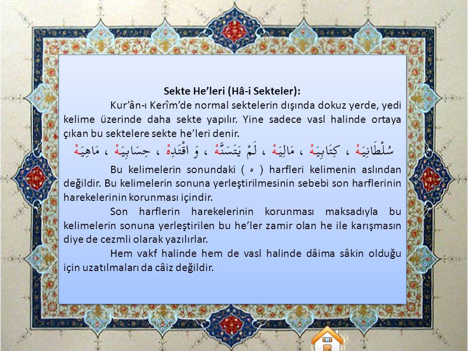 Sekte He'leri (Hâ-i Sekteler): Kur'ân-ı Kerîm'de normal sektelerin dışında dokuz yerde, yedi kelime üzerinde daha sekte yapılır. Yine sadece vasl hali
