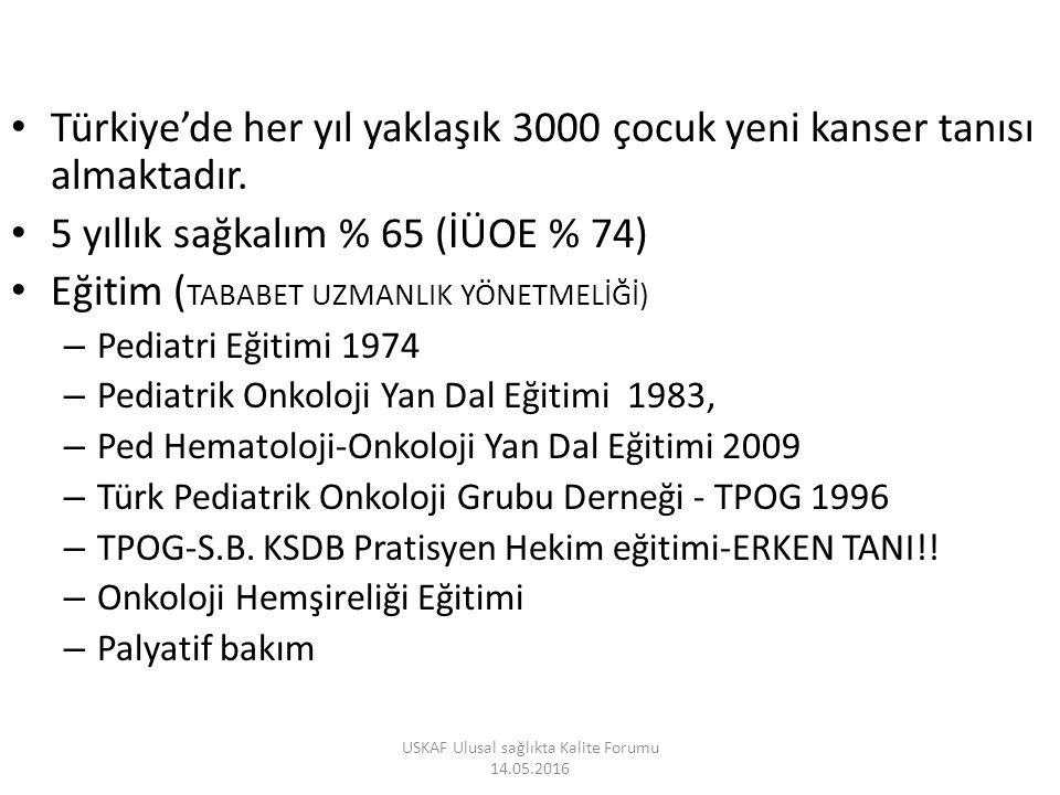 Türkiye'de her yıl yaklaşık 3000 çocuk yeni kanser tanısı almaktadır.