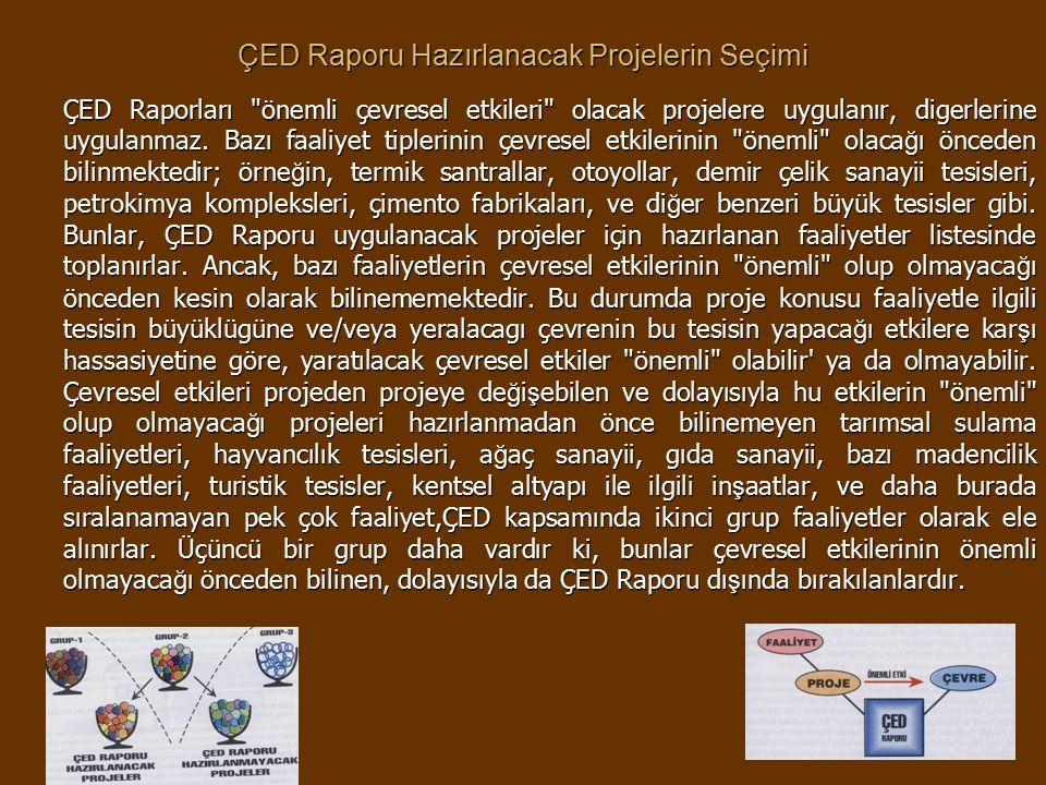 ÇED Raporu Hazırlanacak Projelerin Seçimi ÇED Raporları önemli çevresel etkileri olacak projelere uygulanır, digerlerine uygulanmaz.