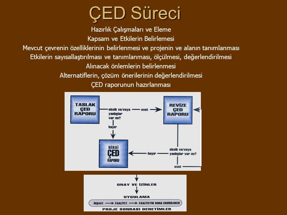 ÇED Süreci Hazırlık Çalışmaları ve Eleme Kapsam ve Etkilerin Belirlemesi Mevcut çevrenin özelliklerinin belirlenmesi ve projenin ve alanın tanımlanması Etkilerin sayısallaştırılması ve tanımlanması, ölçülmesi, değerlendirilmesi Alınacak önlemlerin belirlenmesi Alternatiflerin, çözüm önerilerinin değerlendirilmesi ÇED raporunun hazırlanması