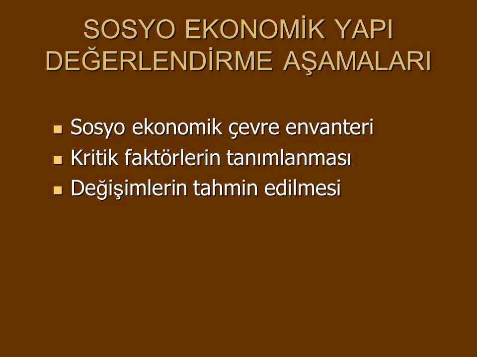 SOSYO EKONOMİK YAPI DEĞERLENDİRME AŞAMALARI Sosyo ekonomik çevre envanteri Sosyo ekonomik çevre envanteri Kritik faktörlerin tanımlanması Kritik faktö