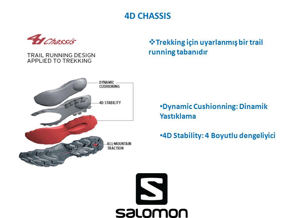 4D CHASSIS  Trekking için uyarlanmış bir trail running tabanıdır Dynamic Cushionning: Dinamik Yastıklama 4D Stability: 4 Boyutlu dengeliyici