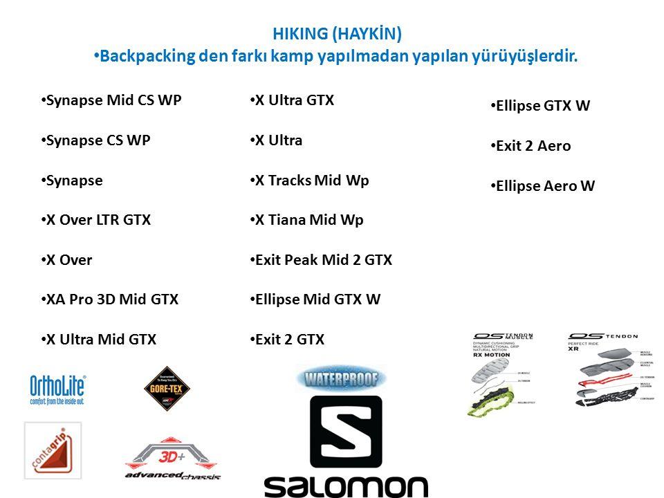 HIKING (HAYKİN) Backpacking den farkı kamp yapılmadan yapılan yürüyüşlerdir. Synapse Mid CS WP Synapse CS WP Synapse X Over LTR GTX X Over XA Pro 3D M