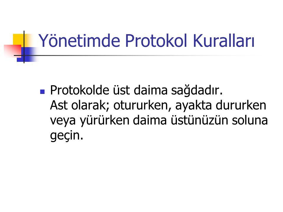 Yönetimde Protokol Kuralları Protokolde üst daima sağdadır.