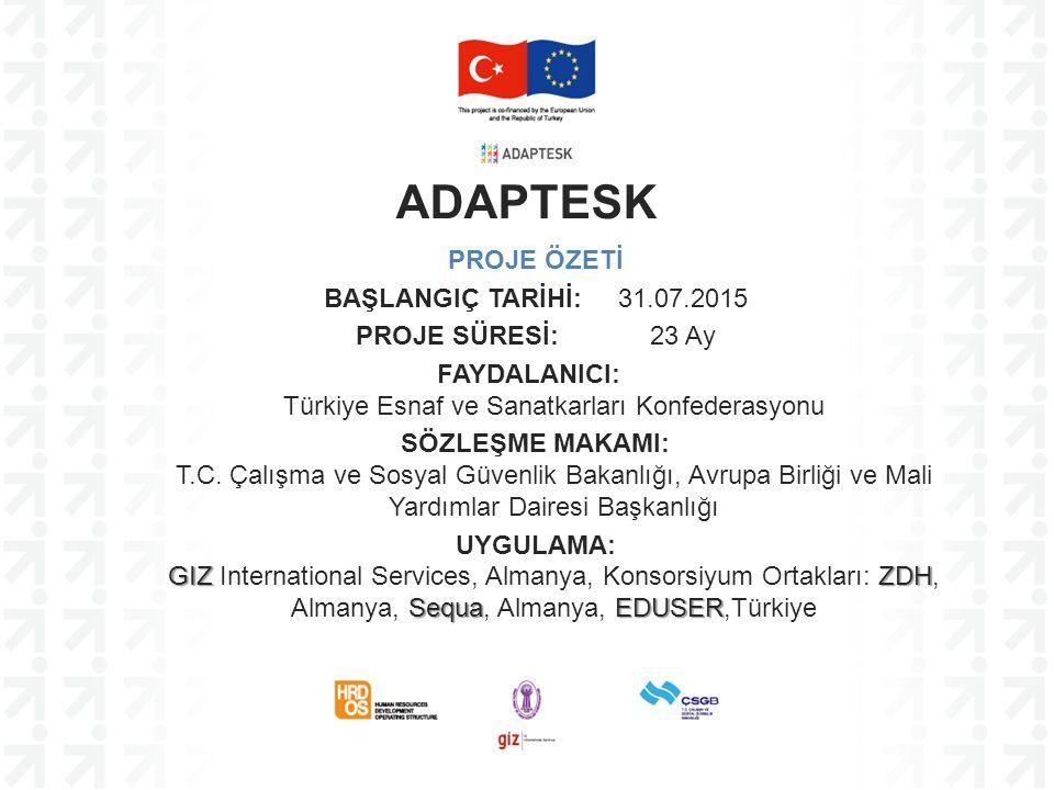 PROJE ÖZETİ BAŞLANGIÇ TARİHİ: 31.07.2015 PROJE SÜRESİ: 23 Ay FAYDALANICI: Türkiye Esnaf ve Sanatkarları Konfederasyonu SÖZLEŞME MAKAMI: T.C. Çalışma v