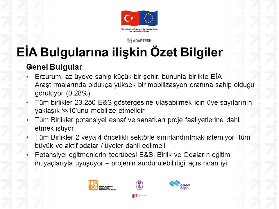 Genel Bulgular Erzurum, az üyeye sahip küçük bir şehir, bununla birlikte EİA Araştırmalarında oldukça yüksek bir mobilizasyon oranına sahip olduğu gör
