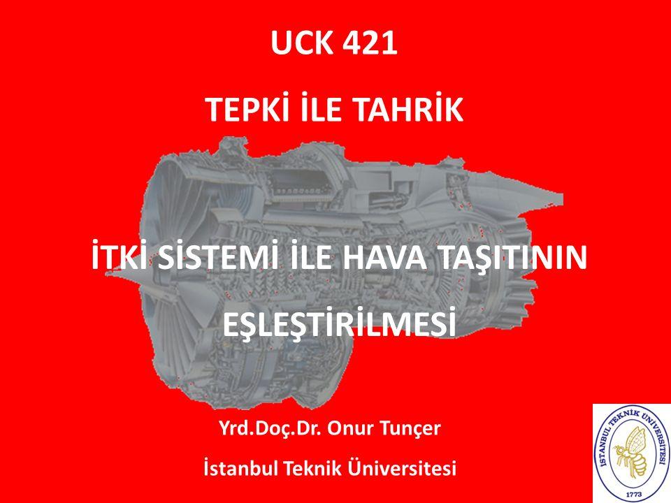 UCK 421 TEPKİ İLE TAHRİK Yrd.Doç.Dr. Onur Tunçer İstanbul Teknik Üniversitesi İTKİ SİSTEMİ İLE HAVA TAŞITININ EŞLEŞTİRİLMESİ