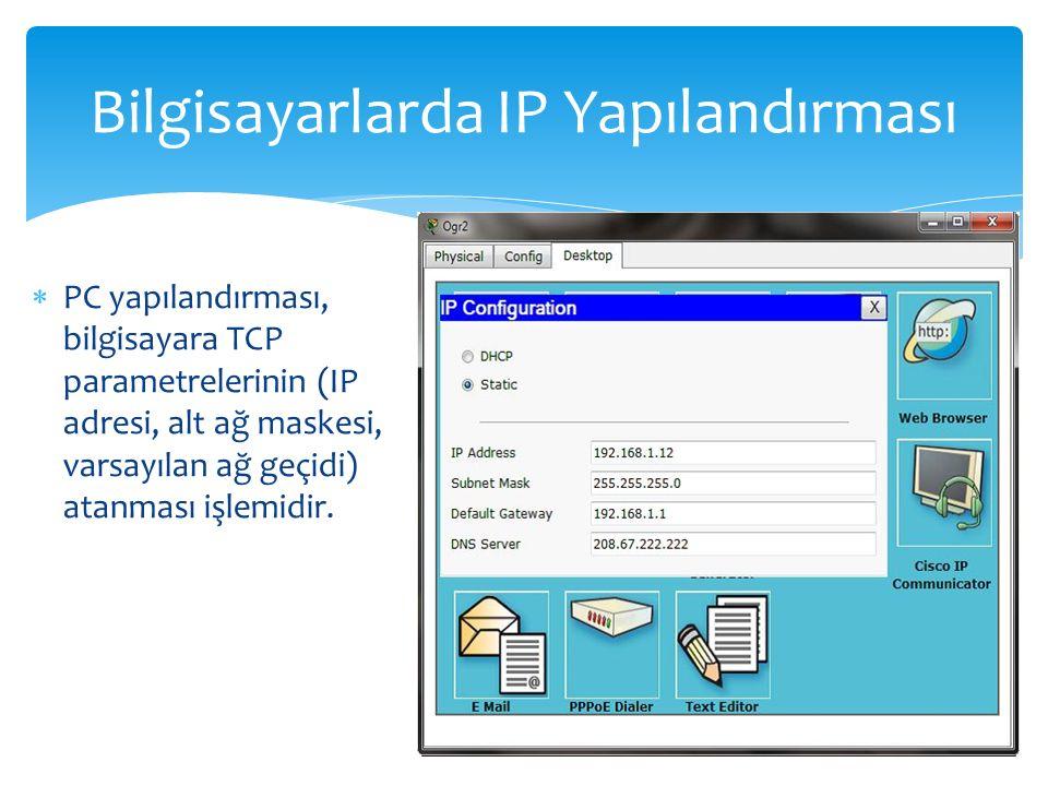  PC yapılandırması, bilgisayara TCP parametrelerinin (IP adresi, alt ağ maskesi, varsayılan ağ geçidi) atanması işlemidir.
