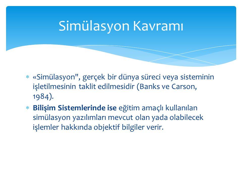  «Simülasyon , gerçek bir dünya süreci veya sisteminin işletilmesinin taklit edilmesidir (Banks ve Carson, 1984).