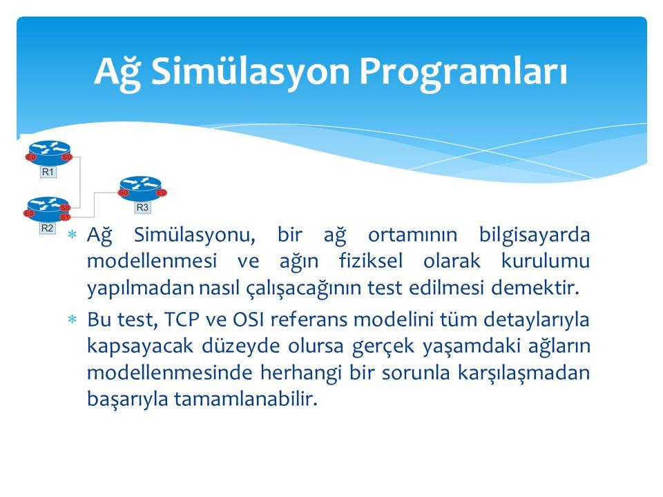  Ağ Simülasyonu, bir ağ ortamının bilgisayarda modellenmesi ve ağın fiziksel olarak kurulumu yapılmadan nasıl çalışacağının test edilmesi demektir.