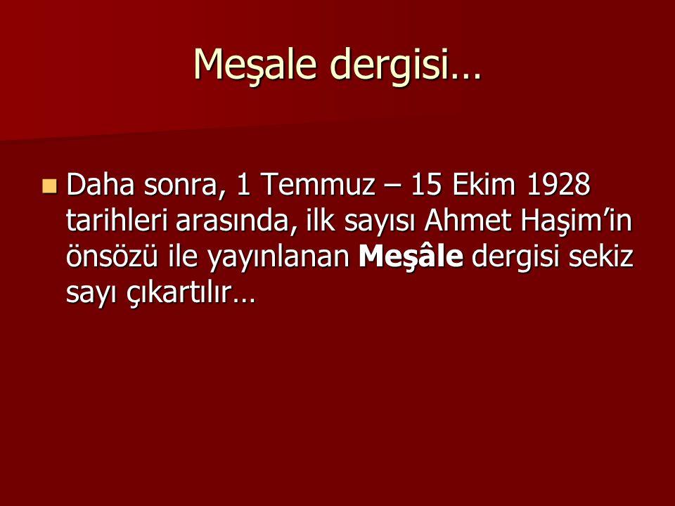 Meşale dergisi… Daha sonra, 1 Temmuz – 15 Ekim 1928 tarihleri arasında, ilk sayısı Ahmet Haşim'in önsözü ile yayınlanan Meşâle dergisi sekiz sayı çıka