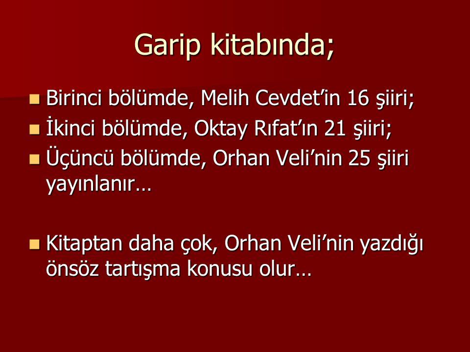 Garip kitabında; Birinci bölümde, Melih Cevdet'in 16 şiiri; Birinci bölümde, Melih Cevdet'in 16 şiiri; İkinci bölümde, Oktay Rıfat'ın 21 şiiri; İkinci