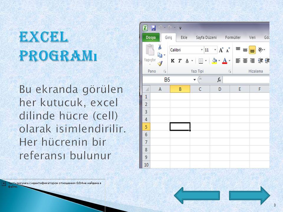  Bir hesap tablosu programıdır. Excel, her türlü veriyi (özellikle sayısal verileri) tablolar ya da listeler halinde tutma ve bu verilerle ilgili iht