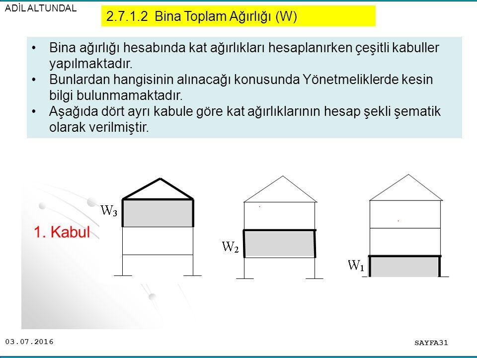 03.07.2016 ADİL ALTUNDAL SAYFA31 Bina ağırlığı hesabında kat ağırlıkları hesaplanırken çeşitli kabuller yapılmaktadır. Bunlardan hangisinin alınacağı