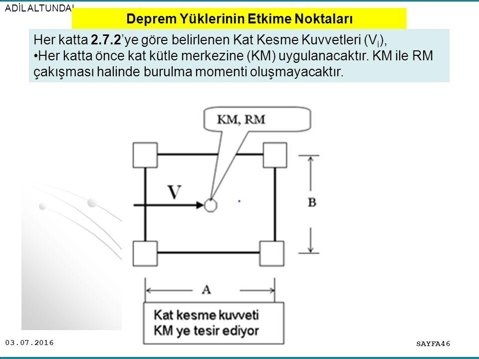 03.07.2016 ADİL ALTUNDAL SAYFA46 Her katta 2.7.2'ye göre belirlenen Kat Kesme Kuvvetleri (V i ), Her katta önce kat kütle merkezine (KM) uygulanacaktı
