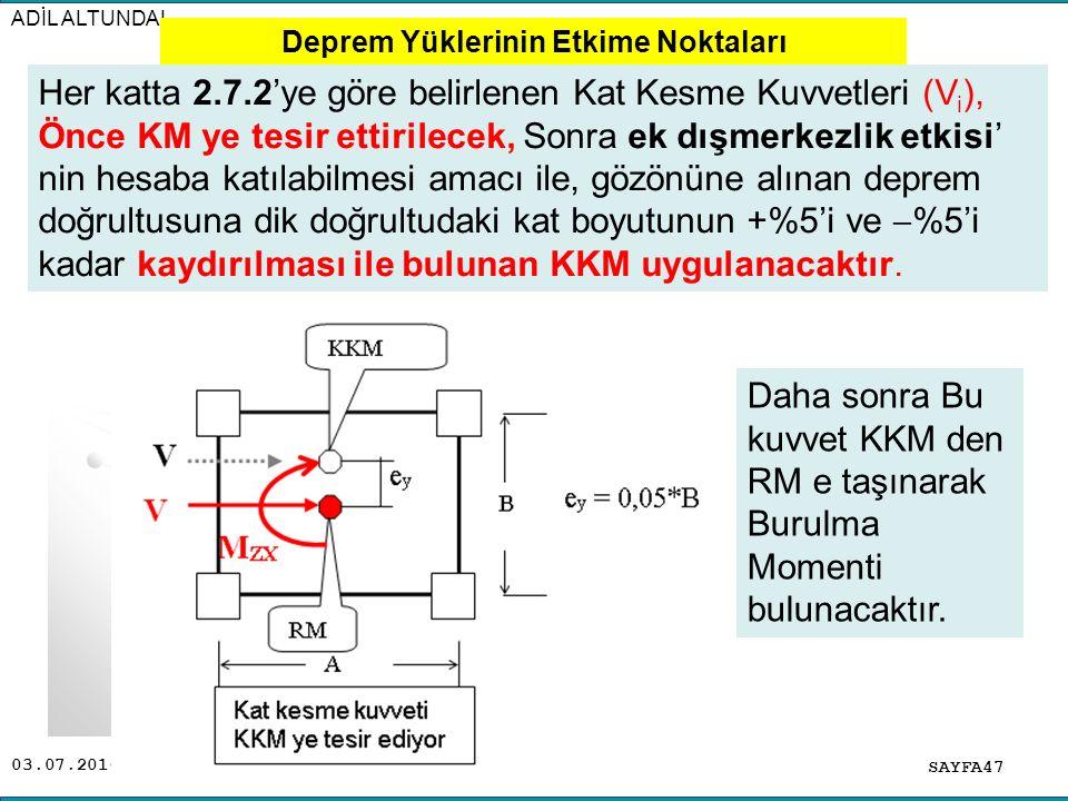 03.07.2016 ADİL ALTUNDAL SAYFA47 Her katta 2.7.2'ye göre belirlenen Kat Kesme Kuvvetleri (V i ), Önce KM ye tesir ettirilecek, Sonra ek dışmerkezlik e