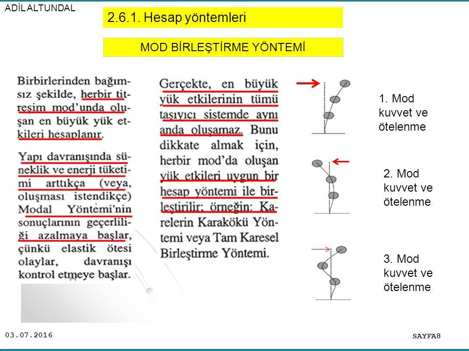 03.07.2016 ADİL ALTUNDAL SAYFA8 MOD BİRLEŞTİRME YÖNTEMİ 2.6.1. Hesap yöntemleri 1. Mod kuvvet ve ötelenme 2. Mod kuvvet ve ötelenme 3. Mod kuvvet ve ö