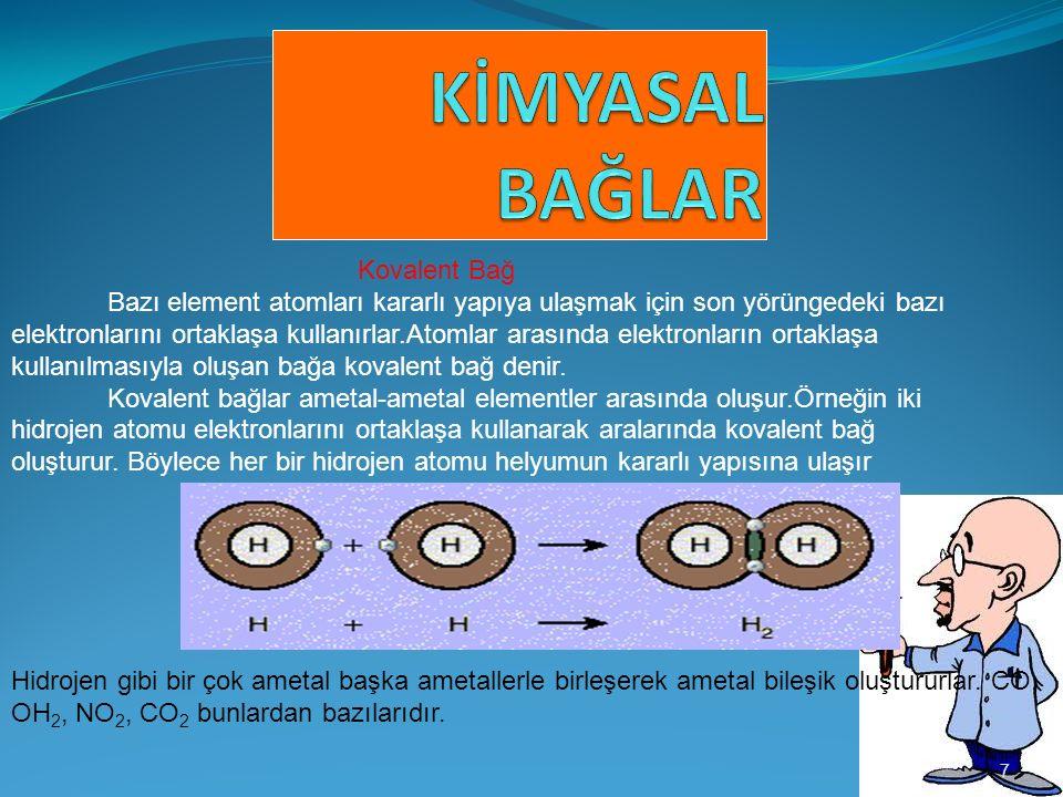7 Kovalent Bağ Bazı element atomları kararlı yapıya ulaşmak için son yörüngedeki bazı elektronlarını ortaklaşa kullanırlar.Atomlar arasında elektronların ortaklaşa kullanılmasıyla oluşan bağa kovalent bağ denir.