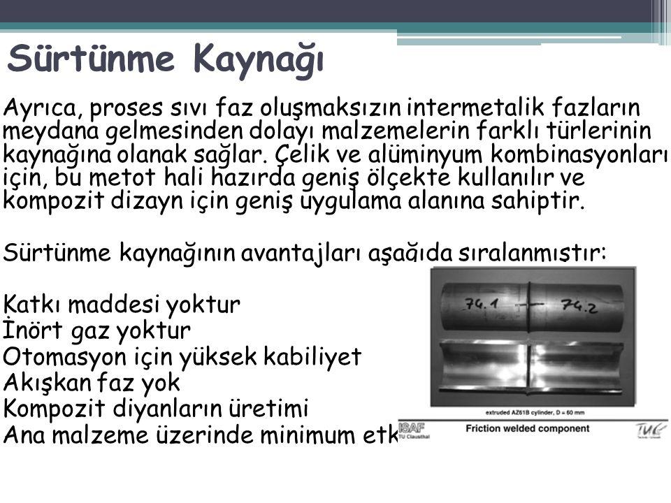Ayrıca, proses sıvı faz oluşmaksızın intermetalik fazların meydana gelmesinden dolayı malzemelerin farklı türlerinin kaynağına olanak sağlar. Çelik ve