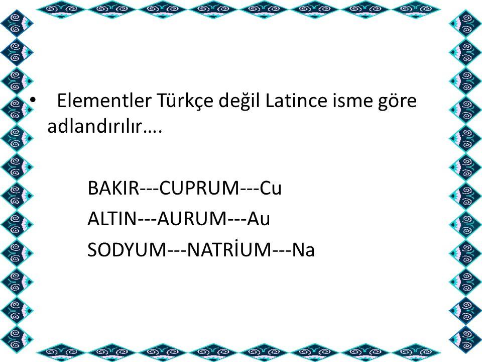 Elementler Türkçe değil Latince isme göre adlandırılır…. BAKIR---CUPRUM---Cu ALTIN---AURUM---Au SODYUM---NATRİUM---Na