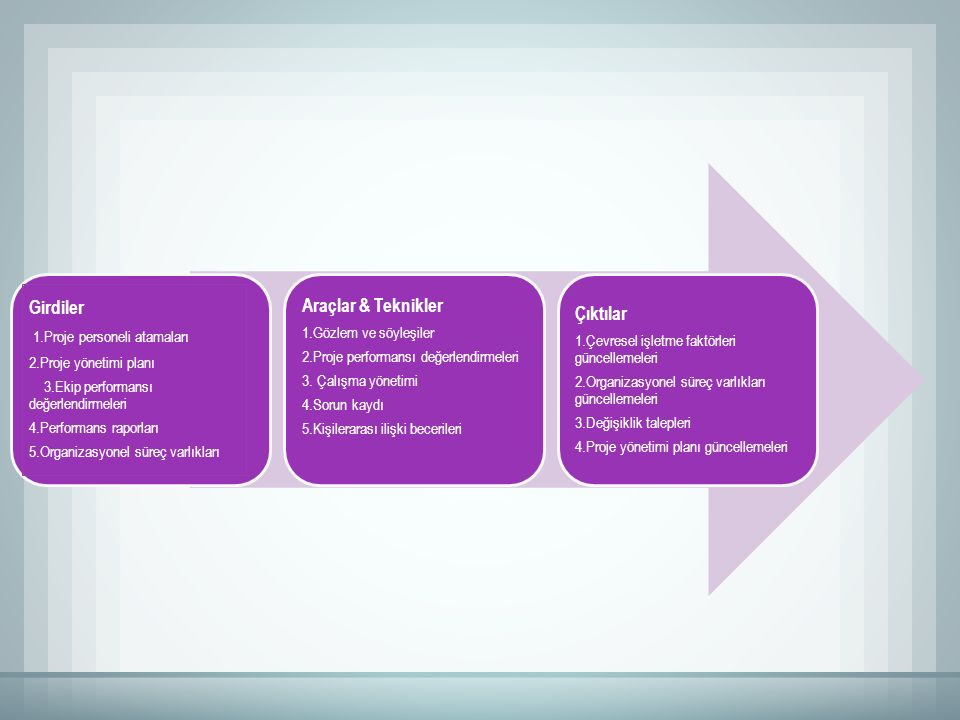 Girdiler 1.Proje personeli atamaları 2.Proje yönetimi planı 3.Ekip performansı değerlendirmeleri 4.Performans raporları 5.Organizasyonel süreç varlıkları Araçlar & Teknikler 1.Gözlem ve söyleşiler 2.Proje performansı değerlendirmeleri 3.