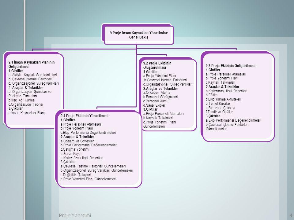 Proje Yönetimi5 Girdiler 1.Aktivite kaynak gereksinimleri 2.Çevresel işletme faktörleri 3.Organizasyonel süreç varlıkları Araçlar & Teknikler 1.Organizasyon şemaları ve pozisyon tanımları 2.İlişki ağı kurma 3.Organizasyon teorisi Çıktılar 1.İnsan kaynakları planı