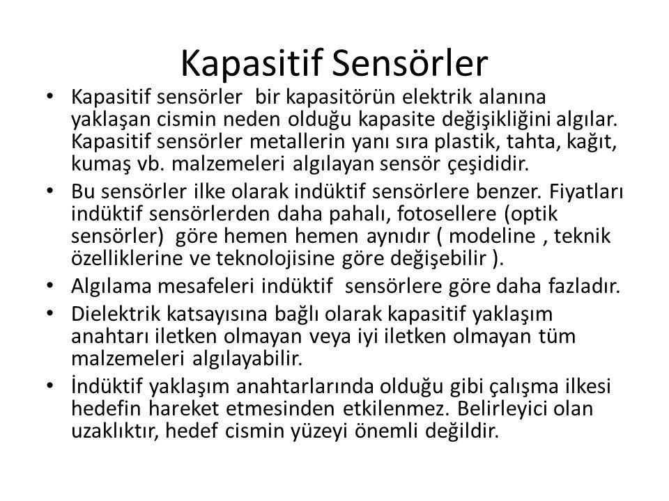 Kapasitif Sensörler Kapasitif sensörler bir kapasitörün elektrik alanına yaklaşan cismin neden olduğu kapasite değişikliğini algılar. Kapasitif sensör