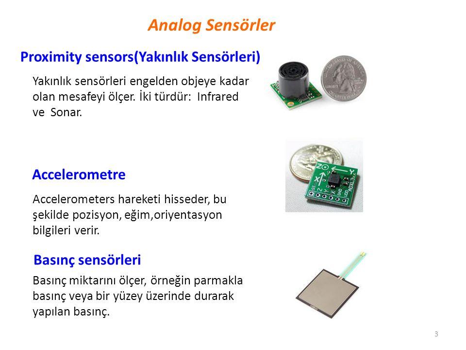 3 Analog Sensörler Yakınlık sensörleri engelden objeye kadar olan mesafeyi ölçer. İki türdür: Infrared ve Sonar. Proximity sensors(Yakınlık Sensörleri