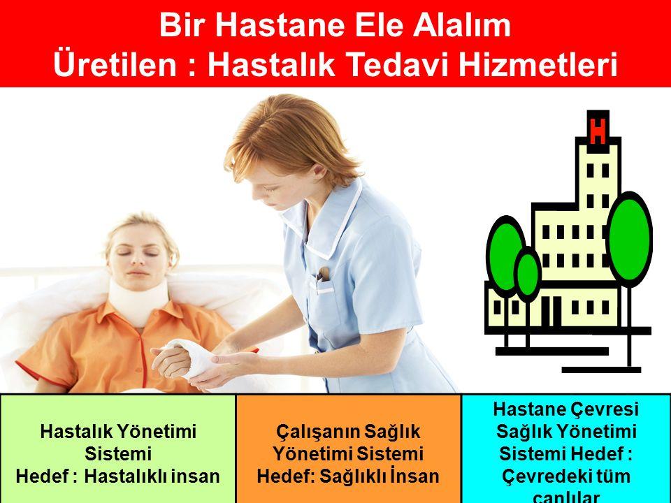 Bir Hastane Ele Alalım Üretilen : Hastalık Tedavi Hizmetleri Hastalık Yönetimi Sistemi Hedef : Hastalıklı insan Çalışanın Sağlık Yönetimi Sistemi Hedef: Sağlıklı İnsan Hastane Çevresi Sağlık Yönetimi Sistemi Hedef : Çevredeki tüm canlılar