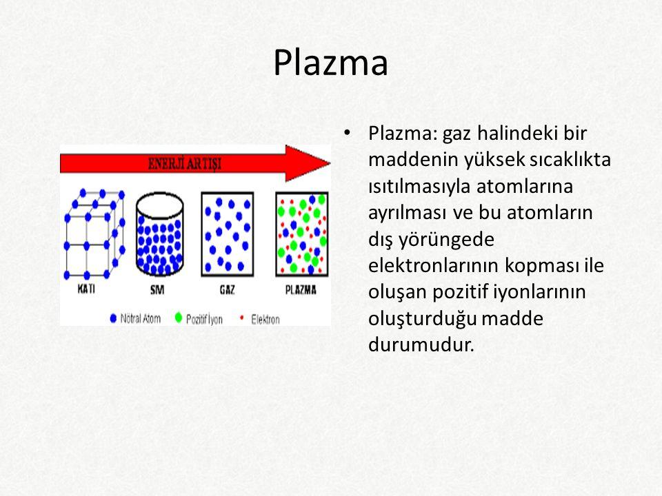 Plazma Plazma: gaz halindeki bir maddenin yüksek sıcaklıkta ısıtılmasıyla atomlarına ayrılması ve bu atomların dış yörüngede elektronlarının kopması ile oluşan pozitif iyonlarının oluşturduğu madde durumudur.