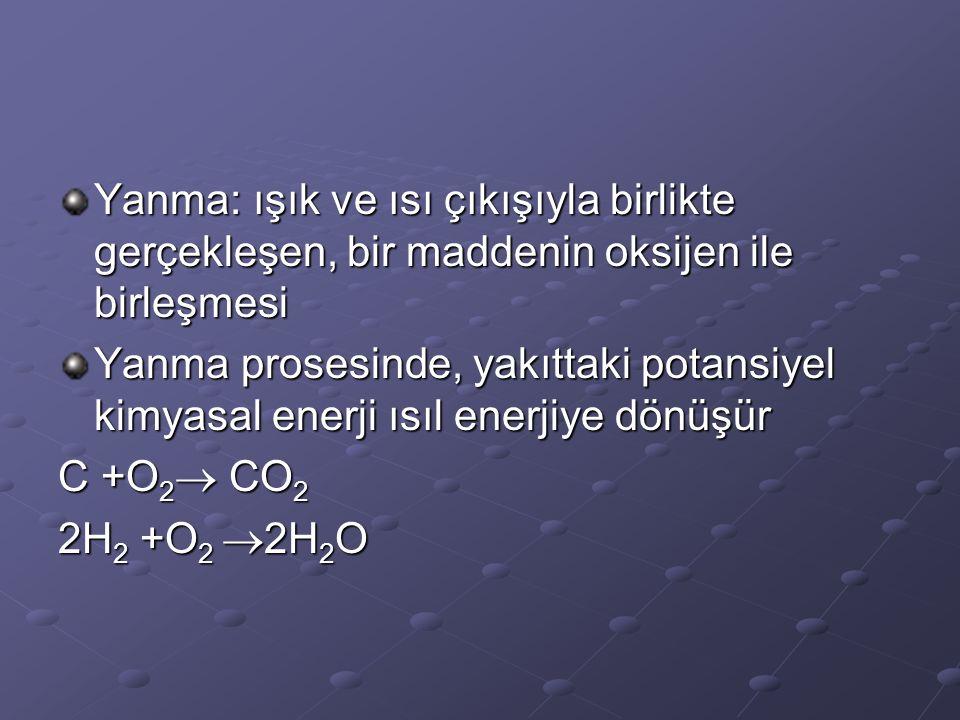Yanma: ışık ve ısı çıkışıyla birlikte gerçekleşen, bir maddenin oksijen ile birleşmesi Yanma prosesinde, yakıttaki potansiyel kimyasal enerji ısıl enerjiye dönüşür C +O 2  CO 2 2H 2 +O 2  2H 2 O