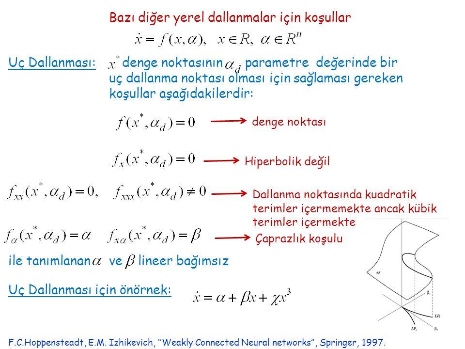 Bazı diğer yerel dallanmalar için koşullar Uç Dallanması: denge noktasının parametre değerinde bir uç dallanma noktası olması için sağlaması gereken koşullar aşağıdakilerdir: denge noktası Hiperbolik değil Dallanma noktasında kuadratik terimler içermemekte ancak kübik terimler içermekte Çaprazlık koşulu Uç Dallanması için önörnek: ile tanımlanan ve lineer bağımsız F.C.Hoppensteadt, E.M.
