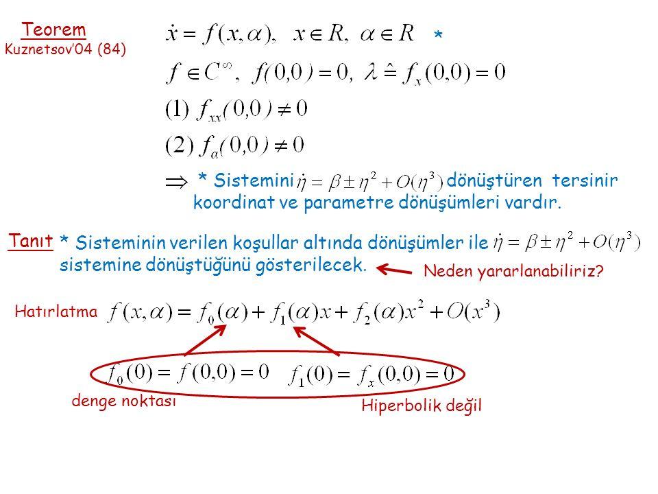 Teorem Kuznetsov'04 (84) * Sistemini dönüştüren tersinir koordinat ve parametre dönüşümleri vardır.