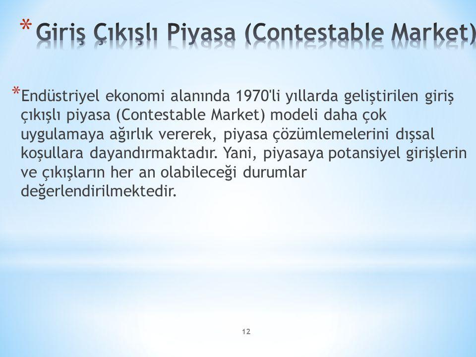 * Endüstriyel ekonomi alanında 1970'li yıllarda geliştirilen giriş çıkışlı piyasa (Contestable Market) modeli daha çok uygulamaya ağırlık vererek, piy