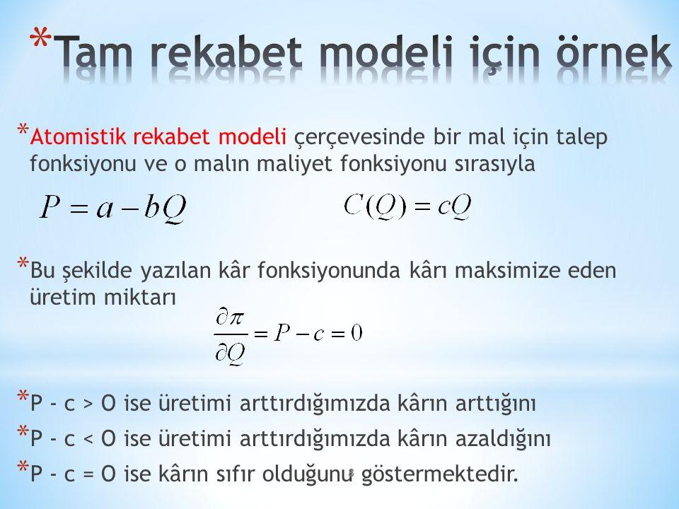 * Atomistik rekabet modeli çerçevesinde bir mal için talep fonksiyonu ve o malın maliyet fonksiyonu sırasıyla * Bu şekilde yazılan kâr fonksiyonunda k
